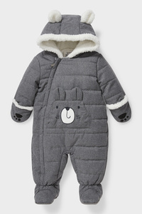 C&A Baby-Schneeanzug mit Kapuze-recycelt, Grau, Größe: 68