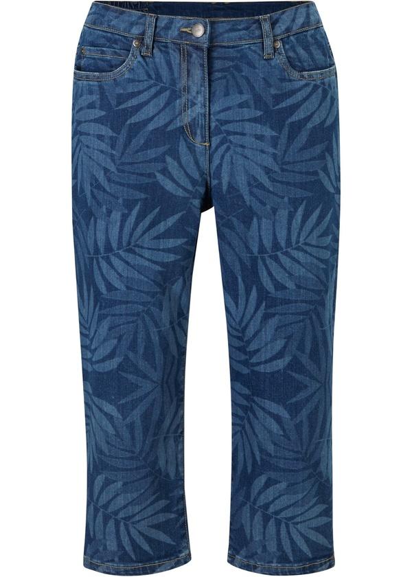 Capri-Komfort-Stretch-Jeans mit Palmendruck und Bequembund