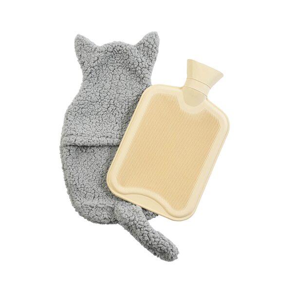 Wärmflasche Fluffi Cat, B:23cm x L:36cm, dunkel-grau