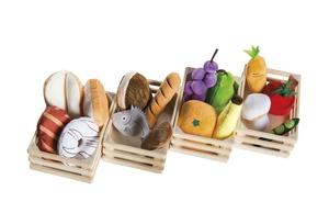 Roba Kaufladenzubehör - Obst / Gemüse - mehrfarbig - Korb: Holz , Kaufladenzubehör: Bezug- und Füllung: 100% Polyester