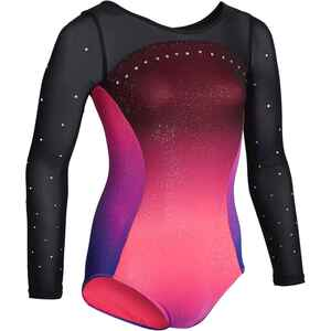 Gymnastikanzug Turnanzug langarm 900 Damen rosa/violett