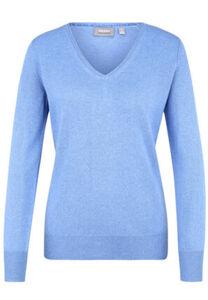 Galeria Seide-Cashmere Pullover, V-Ausschnitt, Rippbündchen, uni, für Damen