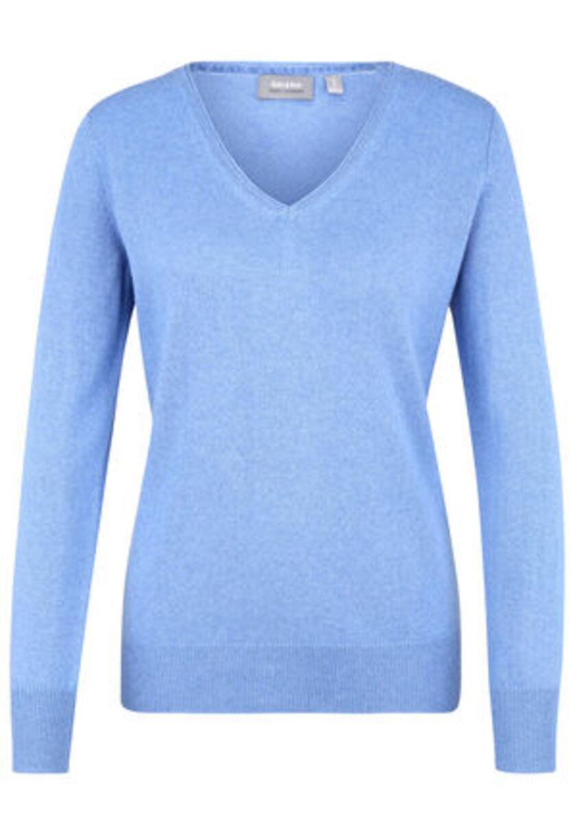 Bild 1 von Galeria Seide-Cashmere Pullover, V-Ausschnitt, Rippbündchen, uni, für Damen