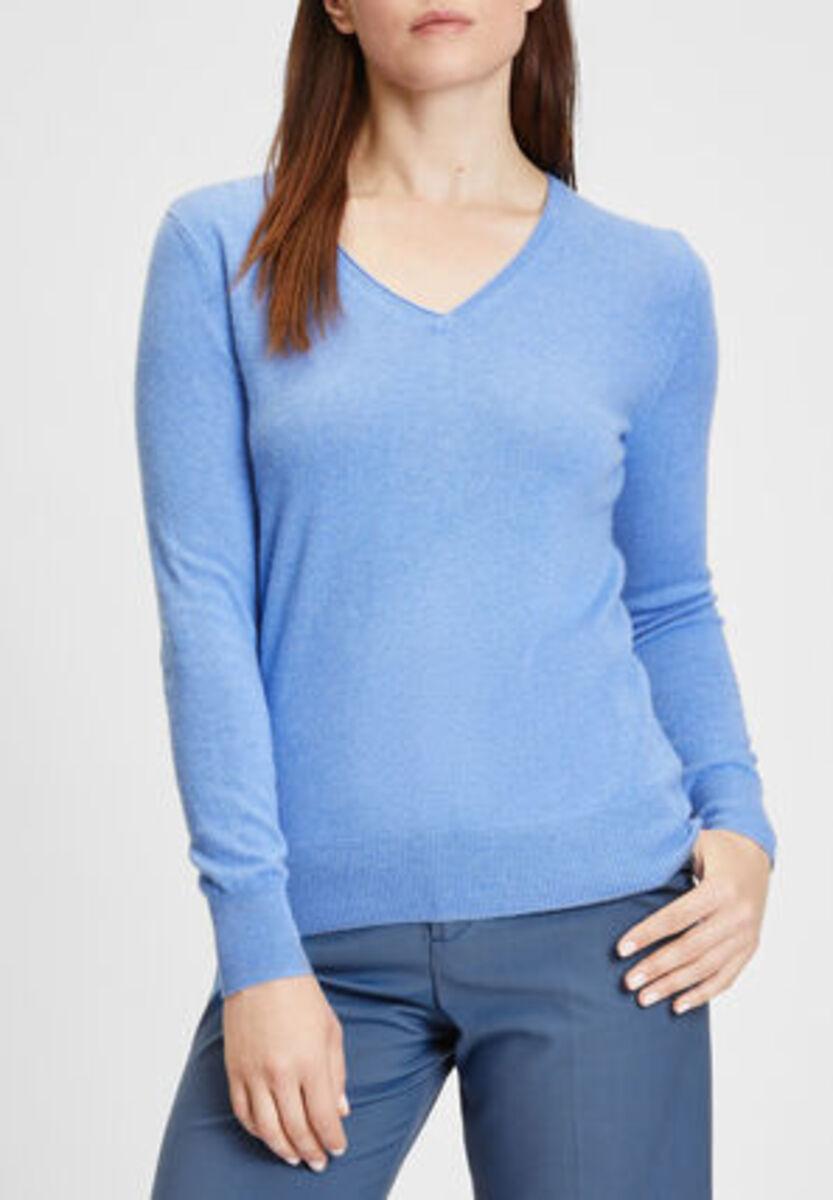 Bild 2 von Galeria Seide-Cashmere Pullover, V-Ausschnitt, Rippbündchen, uni, für Damen