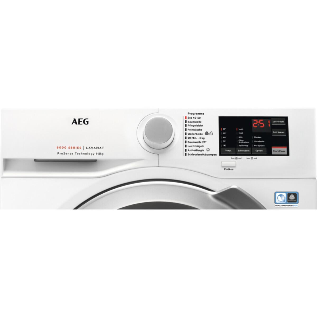 Bild 2 von AEG L6FL548EX Waschmaschine (Frontlader, freistehend, 8 kg, B, 1.351 U/Min, ÖKO LAVAMAT, Serie 6000)
