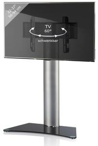"""VCM TV-Standfuß LED Ständer Fernseh Standfuss Alu Glas Universal """"Findal"""" Universell VESA Ablage Schwarzglas oder Mattglas Schwarzglas"""