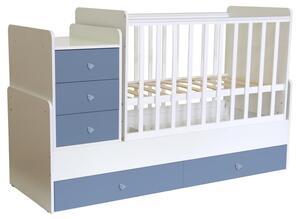 Polini Kids mitwachsendes Kombi-Kinderbett 1100 mit Kommode, 1227.17
