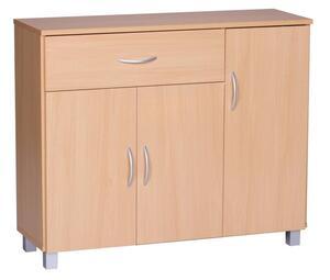 WOHNLING Sideboard JARRY Buche mit 1 Schublade & 3 Türen 90 x 75 x 30 cm   Design Kommode aus Holz   Anrichte Flur-Schrank mit Griffen
