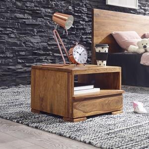 WOHNLING Nachttisch MUMBAI Massiv-Holz Sheesham Nacht-Kommode 30 cm 1 Schublade Ablage Nachtschrank Landhaus-Stil Echt-Holz