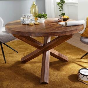 WOHNLING Design Esszimmertisch BOHA rund Ø 120 cm x 75 cm Sheesham Massiv-Holz   Landhaus Esstisch 4 Personen   Küchentisch Tisch für Esszimmer braun