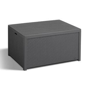 Allibert Arica Storebox Tisch mit Kissenboxfunktion in Rattanoptik, Anthrazit
