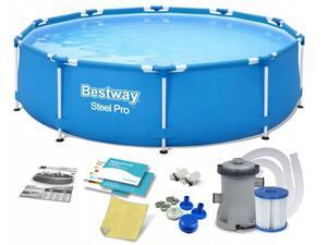 Bestway Steel Pro 56679 Aufstellpool Pool Gerahmt Rund Blau 305 x 76 cm