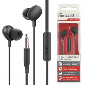 Fontastic Essential In-Ear Stereo-Headset Beans Rufannahme-Taste, Mikrofon, Soft Black