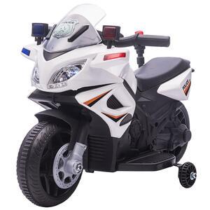 HOMCOM Kinder Polizei Elektromotorrad Polizeimotorrad Elektroauto Kinderwagen für 18 bis 36 Monaten mit 2 Scheinwerfer Polizeilichter Elektroquad Weiß+Schwarz 69 x 39 x 43 cm