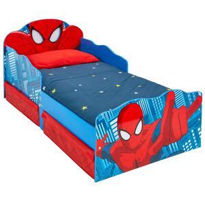 Worlds Appart Kleinkinderbett für Jungs im Design von Spider-Man, mit beleuchteten Augen und Stauraum , 509SDR