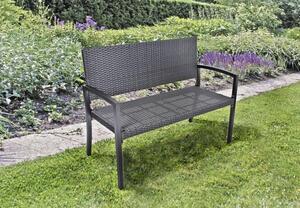 Garden Pleasure Parkbank Sanremo Rattan Optik Garten Bank Sitzbank Möbel schwarz