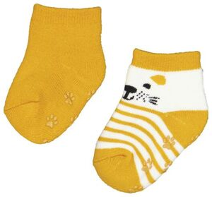 HEMA 2er-Pack Baby-Socken Mit Frottee, Bär Gelb
