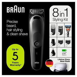Braun 8-in-1-Trimmer MGK5260 Gesichtshaartrimmer, Barttrimmer und Haarschneider für Herren, schwarz/grau