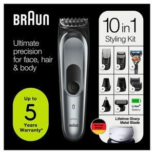 Braun 10-in-1-Trimmer MGK7221 Herren-Barttrimmer, Bodygrooming-Set und Haarschneider, dunkelgrau
