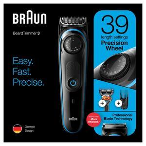 Braun BT3940TS Herren-Barttrimmer und Haarschneider, mit Neopren Kulturtasche,39 Längeneinstellungen, schwarz/blau