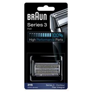 Braun Elektrorasierer Ersatzscherteil 31S, kompatibel mit Series 3 Rasierern (ältere Generation), silber