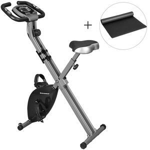 SONGMICS X Bike Heimtrainer Fitnessbike, bis 100 kg Fitnessfahrrad mit Bodenmatte, 8 magnetische Widerstandseinstellungen zusammenklappbar schwarz SXB11BK