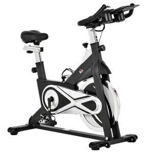 HOMCOM Fahrradtrainer Indoor Heimtrainer mit 18KG Schwungrad Home Gym Cycling Bike Trainer Fitnessfahrrad Stufenlos Widerstand Stahl Rot+Schwarz 125 x 54 x 112,7 cm
