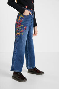 Jeans Wide Leg Stickerei