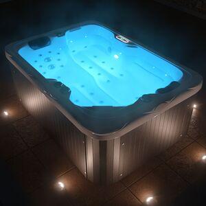 TroniTechnik Outdoor Whirlpool Spa LEVANZO weiß 195cm x 135cm mit Heizung, Hydromassage, Bluetooth u