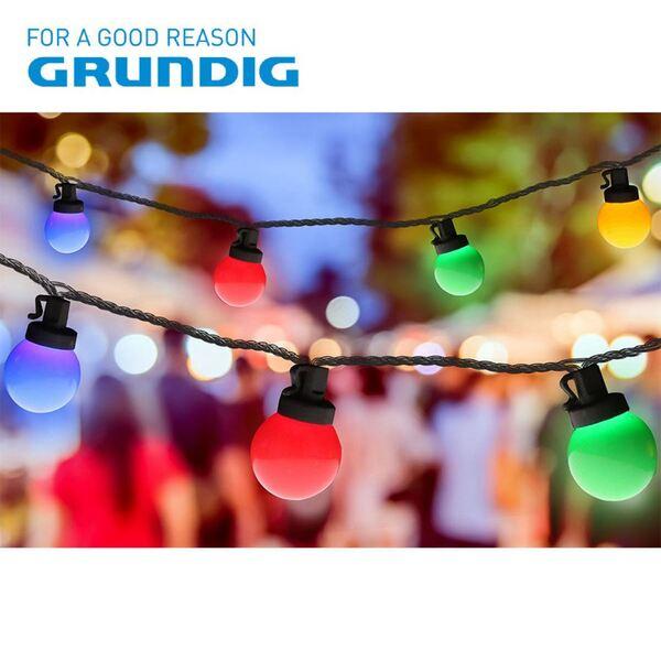Grundig Deko-Lichterkette Bälle 13,9m 100 LEDs Bunt
