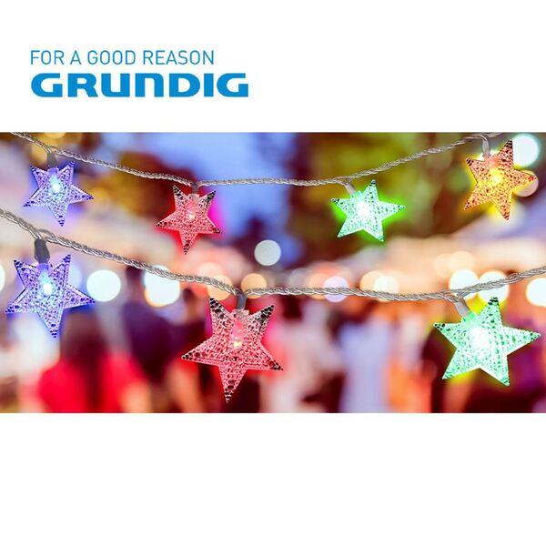 Grundig Deko-Lichterkette Sterne 13,9m 100 LEDs Bunt