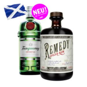 Remedy Spiced Rum,Tanqueray London dry Gin oder Siegfried Wonderleaf alkoholfrei