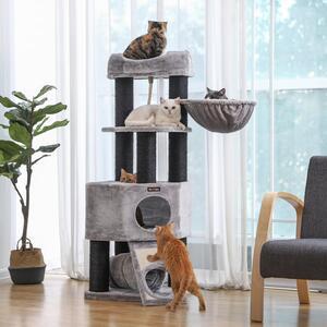 FEANDREA Kratzbaum 141cm hellgrau mit extra dicken Stämmen aus Sisal Plüsch Holz Katzenbaum Kletterbaum für große Katzen umwickelt PCT02W