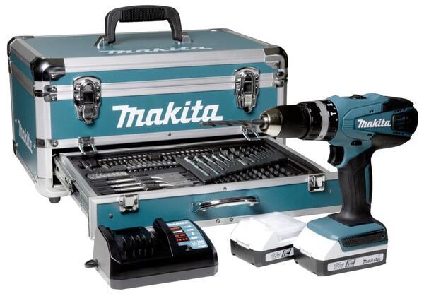 Makita HP457DWEX4 + Zubehörset Akku-Bohrschrauber im Koffer