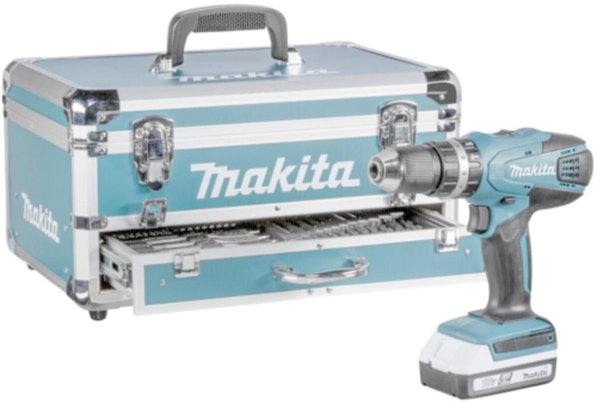 Bild 2 von Makita HP457DWEX4 + Zubehörset Akku-Bohrschrauber im Koffer