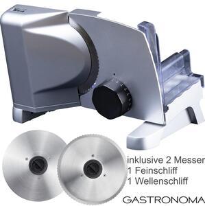 Gastronoma 18310007 Metall Allesschneider 2 Messern Metallallesschneider inklusive Feinschliff- und Wellenschliffmesser, 160 Watt,