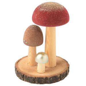 Deko-Figur Pilze mit Holzscheibe