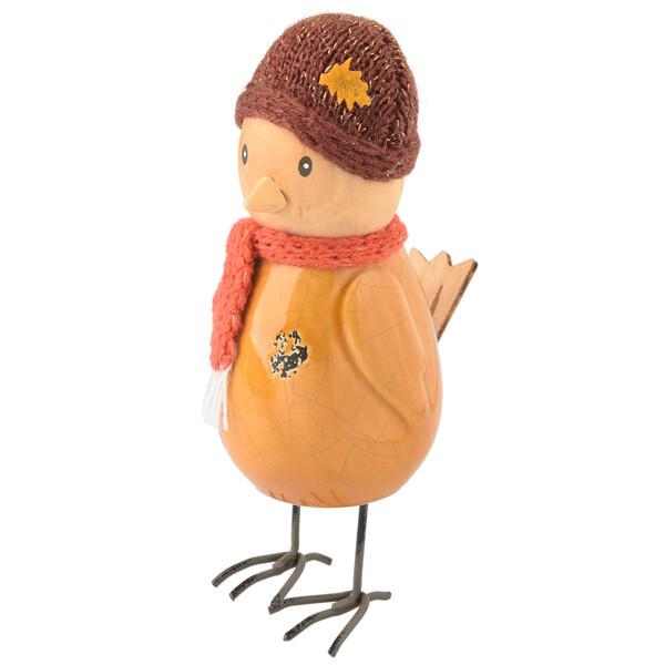 Deko-Figur Vogel mit Mütze