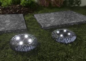 Solar Bodenstrahler Steindesign Nordic grau - 2 Stück