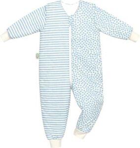 Jersey-Schlafoverall Hopsi, stripes bleu, Gr.98/104 blau