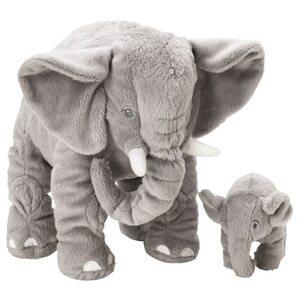 LEDDJUR Stofftier 2er-Set, Elefant/grau