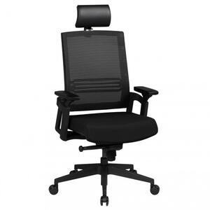 AMSTYLE Bürostuhl APOLLO A1 Stoffbezug Schreibtischstuhl Armlehne schwarz Chefsessel 120 kg Drehstuhl Kopfstütze X-XL