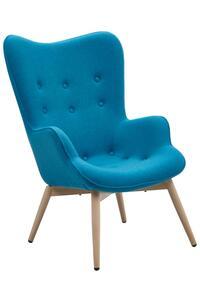 SalesFever Polstersessel Webstoff | Gestell Metall Holzoptik Eiche | B 80 x T 99 x H 92 cm | blau