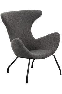 SalesFever Relaxsessel | Bezug Teddyfell | Gestell Metall schwarz | B 77 x T 62 x H 95 cm | grau