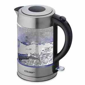 Cloer 4429 beleuchteter Glaswasserkocher 1,7Liter 2200 Watt kabellos silber