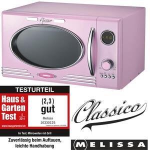 Melissa 16330125 CLASSICO Retro Pink Rosa 25 Liter Mikrowelle mit Grill