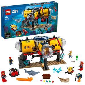 LEGO 60265 City Meeresforschungsbasis, Tiefsee-Unterwasserset, Tauchabenteuer-Spielzeug für Kinder