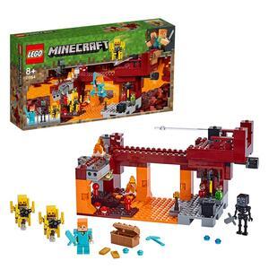 LEGO 21154 Minecraft Die Brücke, Bauset mit Alex-Minifigur, Whiter-Skelett, Lava und Lohefiguren, Minecraft-Nether-Kulisse, Spielzeuge für Kinder