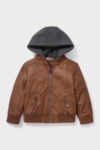 C&A Jacke mit Kapuze-Lederimitat-2-in-1-Look, Braun, Größe: 92