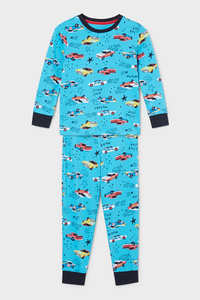 C&A Pyjama-Bio-Baumwolle-2 teilig, Türkis, Größe: 92